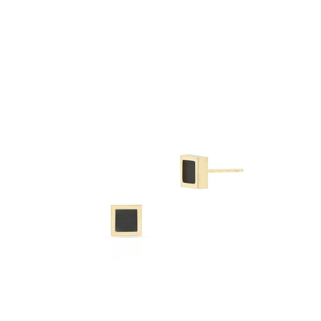 W.KRUK Piękne Złote Kolczyki – złoto 375, Onyks syntetyczny – ZIO/KN01