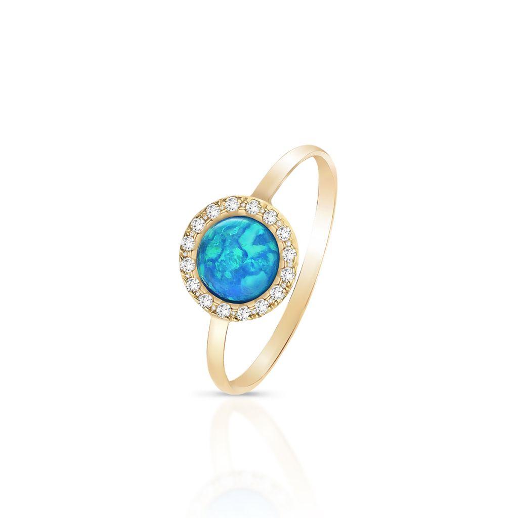 W.KRUK Zjawiskowy Pierścionek Złoty – złoto 375, Opal syntetyczny,cyrkonia – ZTO/PW17
