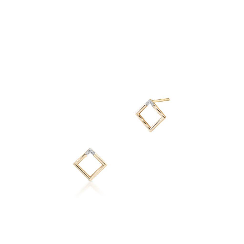 W.KRUK PROMOCJA Złote Kolczyki – złoto 375, Diament 0,03ct – ZHX/KB+03BK