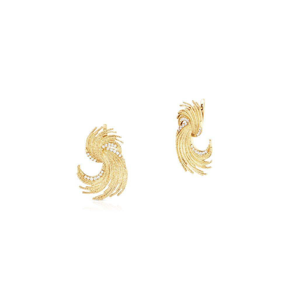 W.KRUK Wyjątkowe Złote Kolczyki – złoto 585, Biały topaz – ZDL/KT10