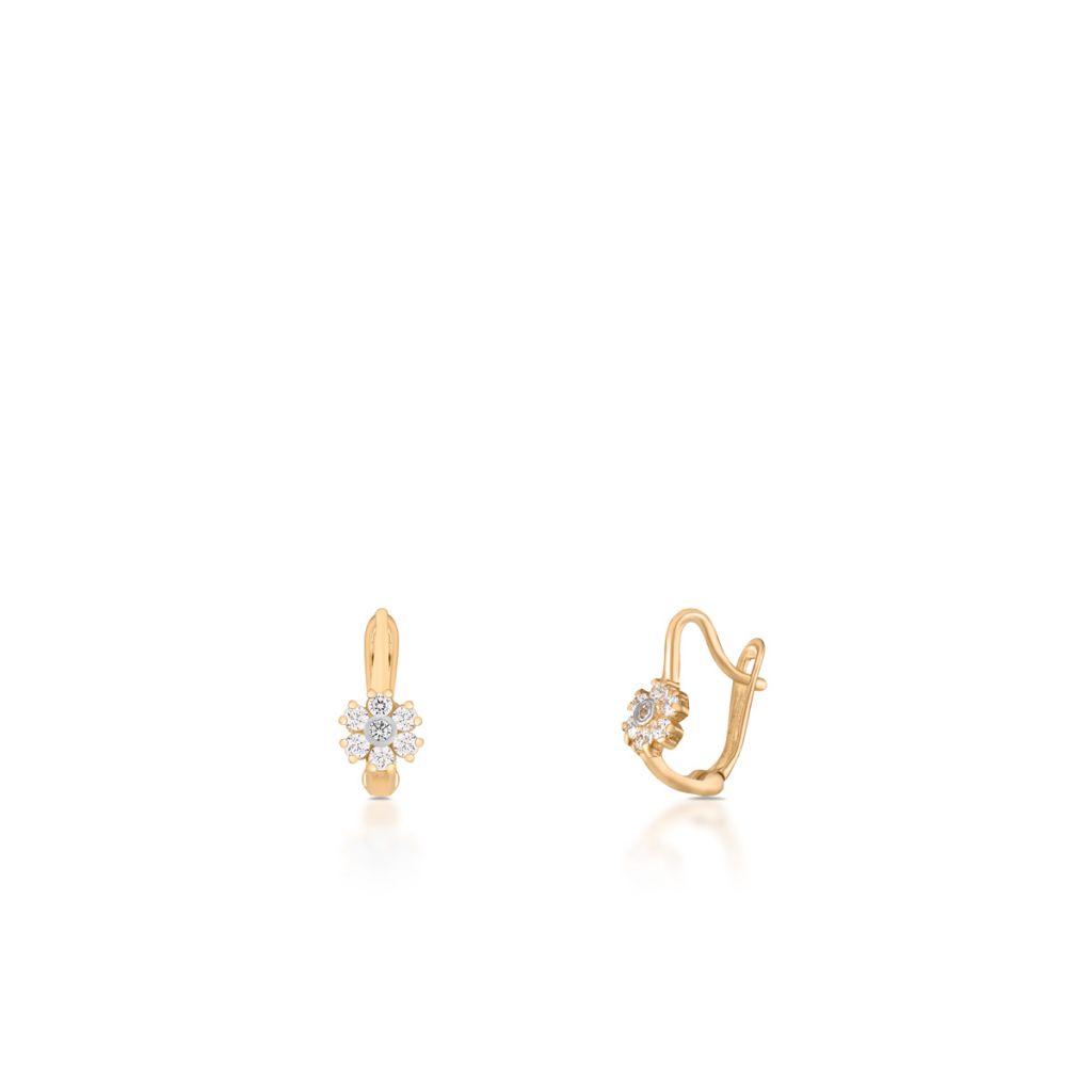 W.KRUK Wspaniałe Złote Kolczyki – złoto 585, Cyrkonia – ZRR/KC03