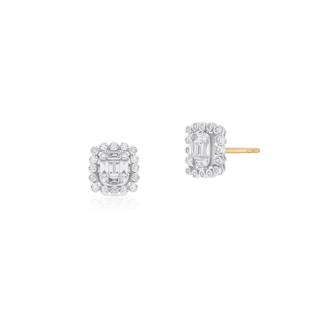W.KRUK Kolczyki Złote – złoto 585, Brylant 0,07ct,diament 0,34ct – ZPA/KB+460K