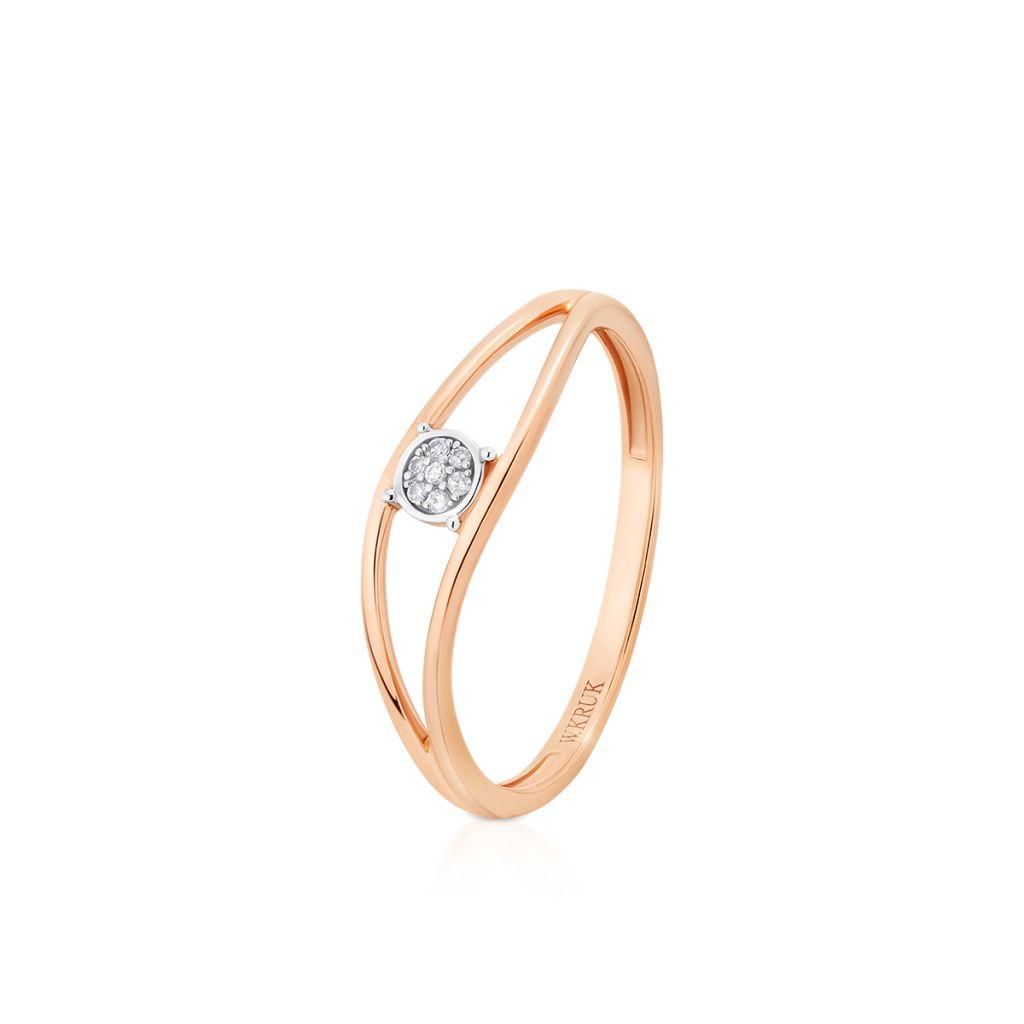W.KRUK Pierścionek Złoty – złoto 585, Diament 0,01ct – ZUF/PB+03BK