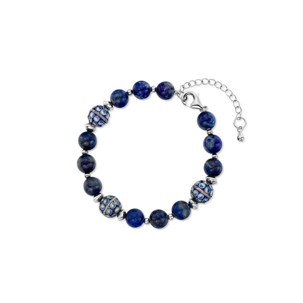 W.KRUK Srebrna Bransoletka – srebro 925, Lapis lazuli – SUS/AS036
