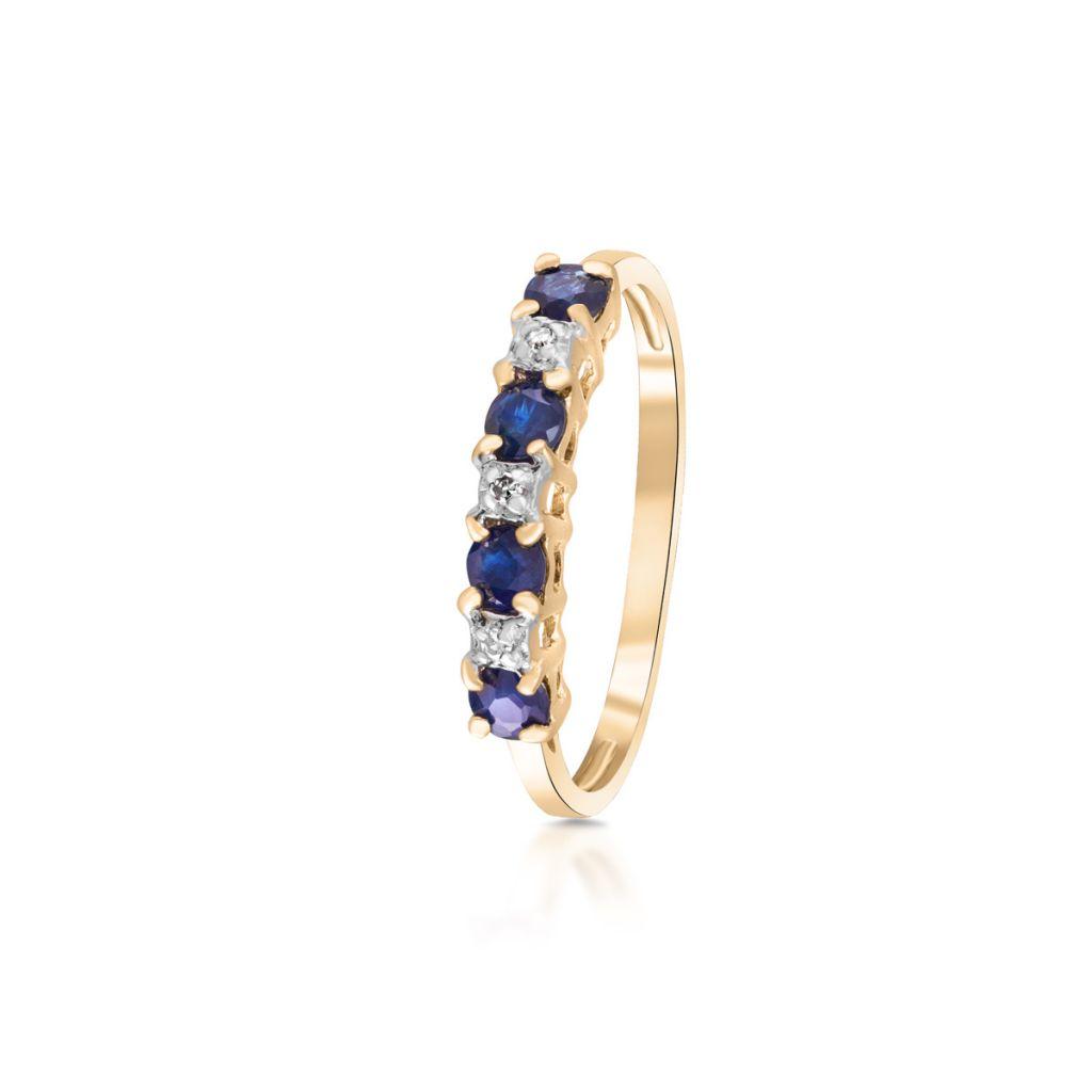W.KRUK Unikalny Złoty Pierścionek – złoto 585, Diament 0,015ct,szafir – ZHH/PB+20