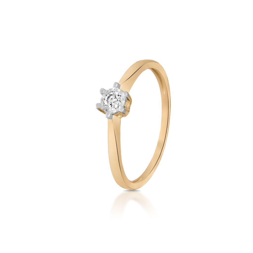 W.KRUK Piękny Pierścionek Złoty – złoto 585, Brylant 0,10ct – ZPA/PB+346K