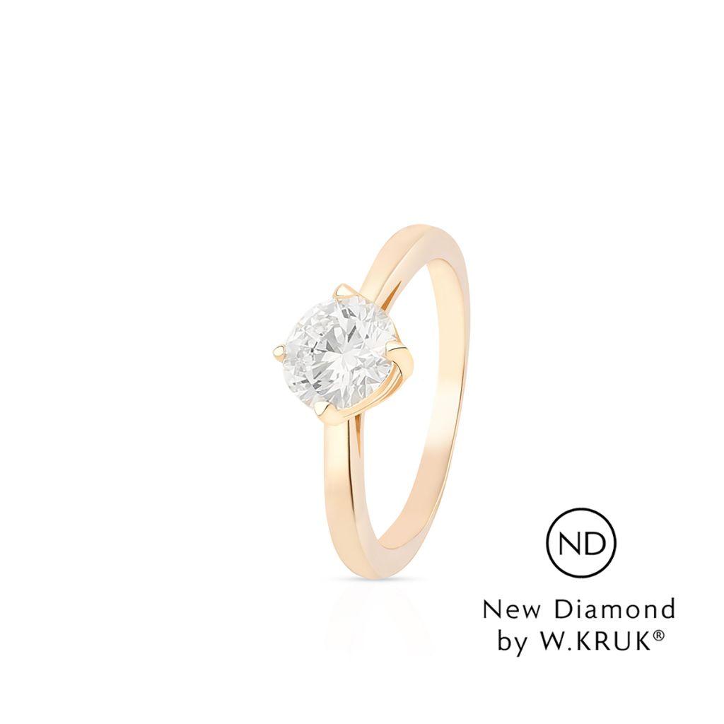 W.KRUK Piękny Pierścionek Złoty – złoto 750, New diamond by w.kruk 1,00ct – XWK/PB-04