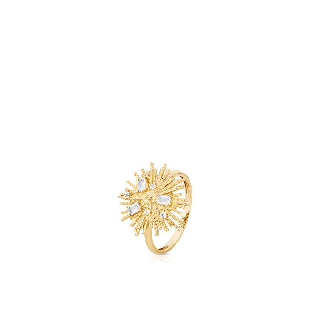 W.KRUK Piękny Złoty Pierścionek – złoto 375, Biały topaz – ZDL/PT15
