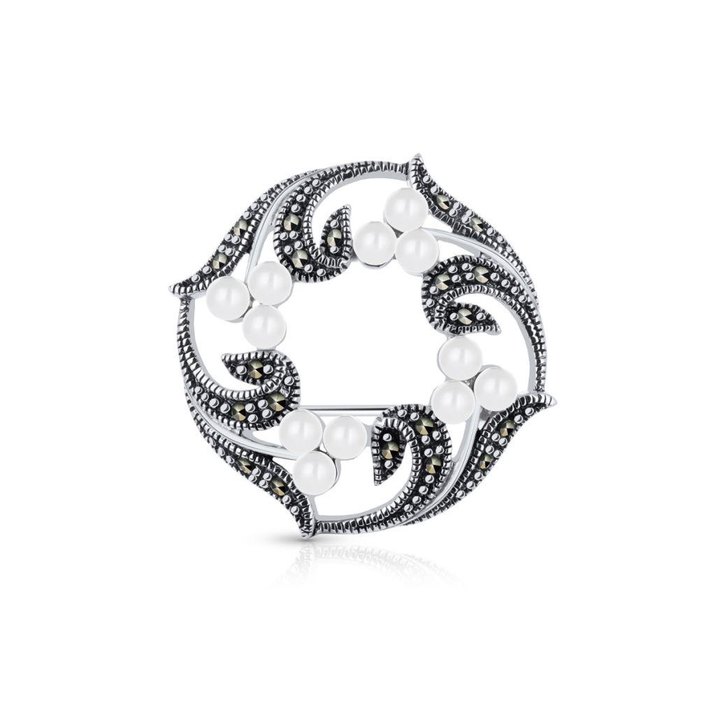 W.KRUK Zjawiskowa Broszka Srebrna – srebro 925, Markasyt,perła imitacja – SVL/BS008