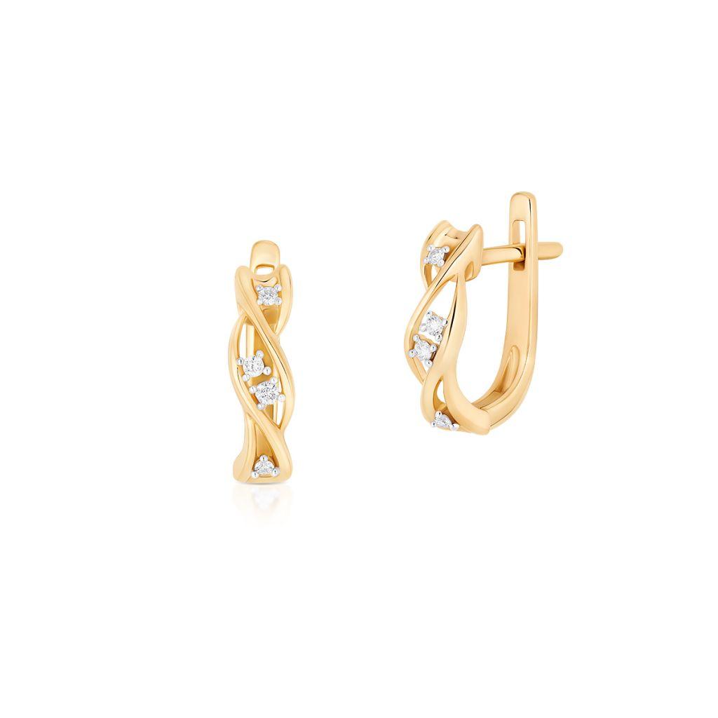 W.KRUK Piękne Złote Kolczyki – złoto 585, Brylant 0,06ct – ZUF/KB+06BK