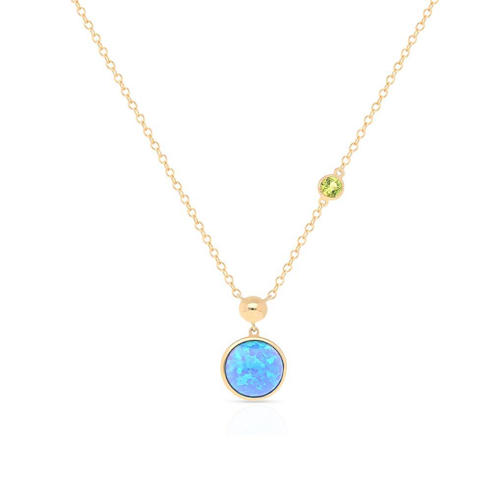 W.KRUK Wyjątkowy Naszyjnik – złoto 375, Spinel syntetyczny,opal syntetyczny – ZDL/NW19