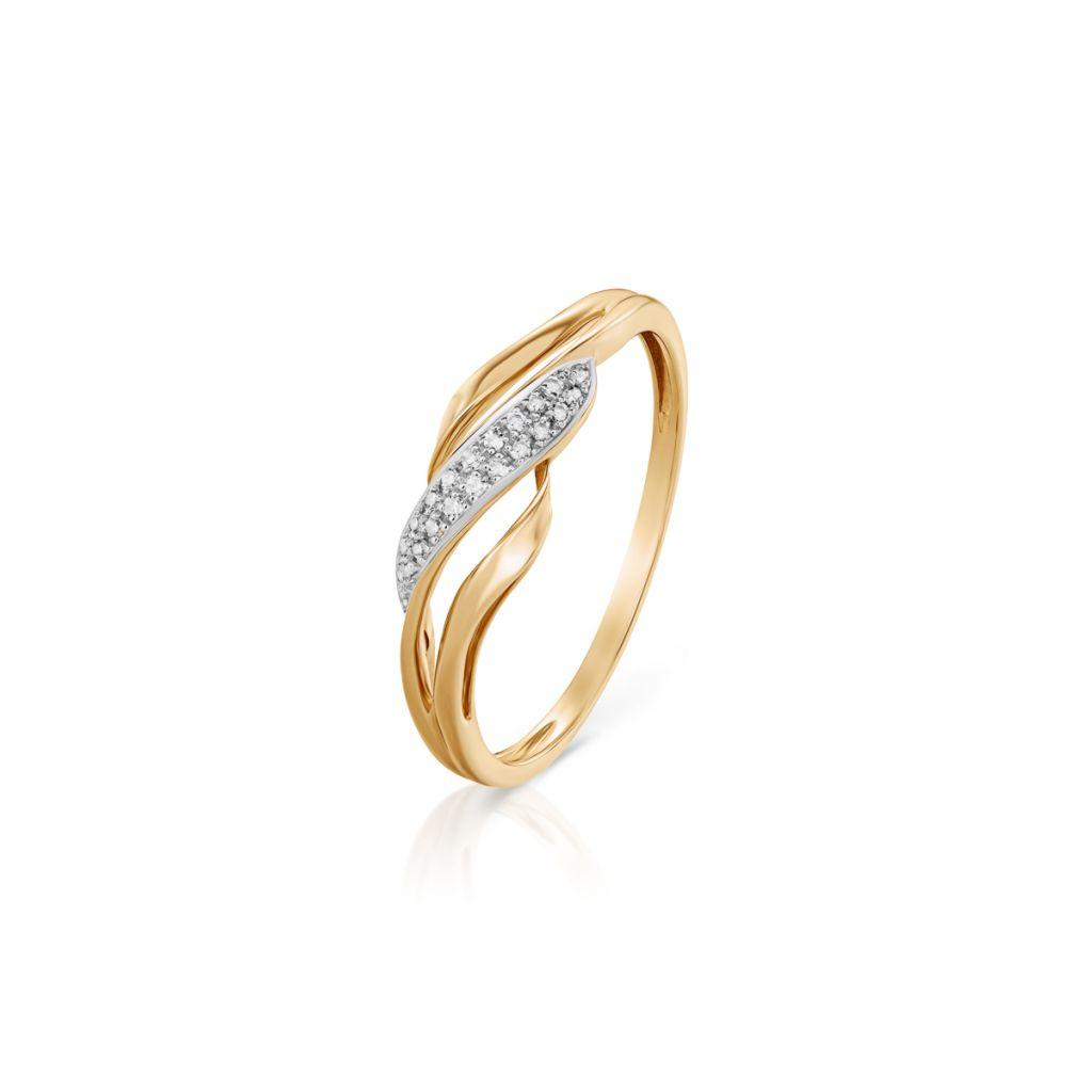 W.KRUK Zjawiskowy Złoty Pierścionek – złoto 585, Diament 0,06ct – ZFX/PB+19BK