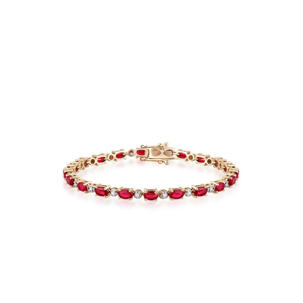 W.KRUK Piękna Bransoletka Złota – złoto 585, Cyrkon,rubin traktowany – ZVK/AU13