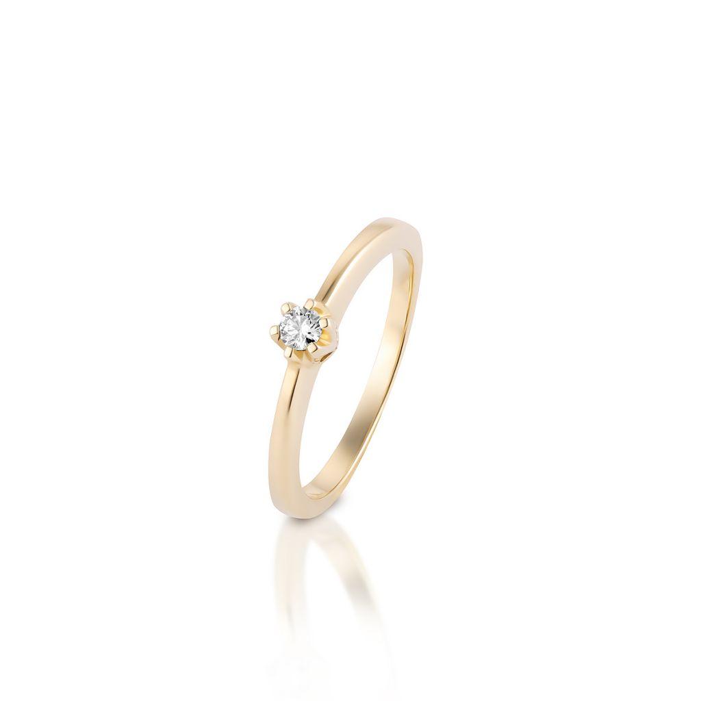 W.KRUK Pierścionek Złoty – złoto 585, Brylant 0,15ct – XWR/PB+12