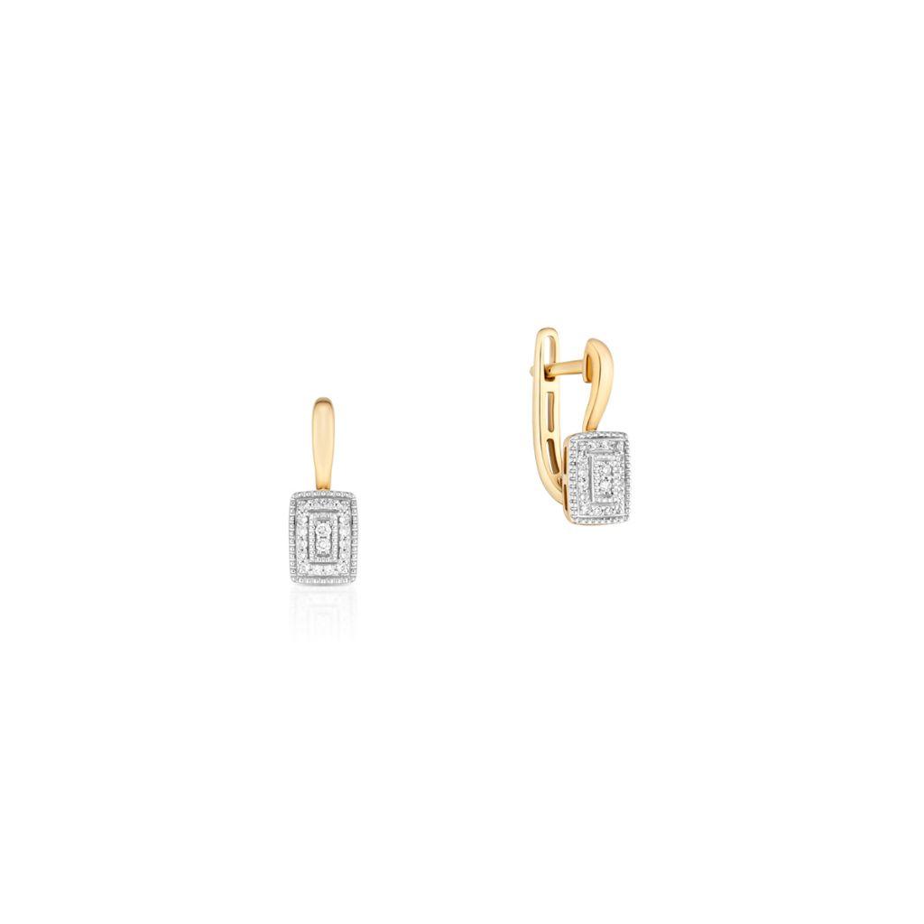 W.KRUK Kolczyki Złote – złoto 585, Diament 0,11ct – ZCG/K+1000K