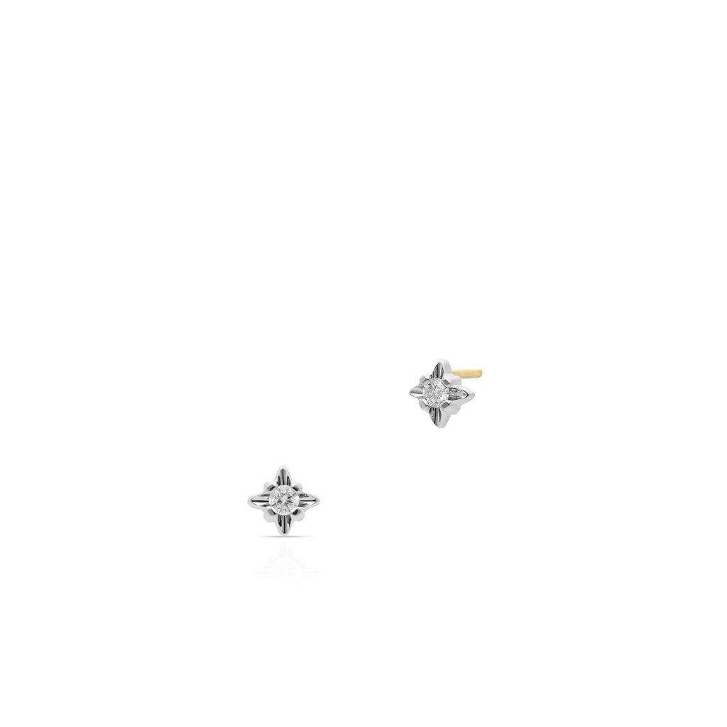 W.KRUK Unikalne Złote Kolczyki – złoto 585, Brylant 0,16ct – XWK/KB+370BK