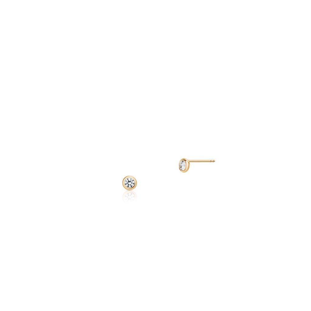 W.KRUK Złote Kolczyki – złoto 375, Cyrkonia – ZRC/KC73