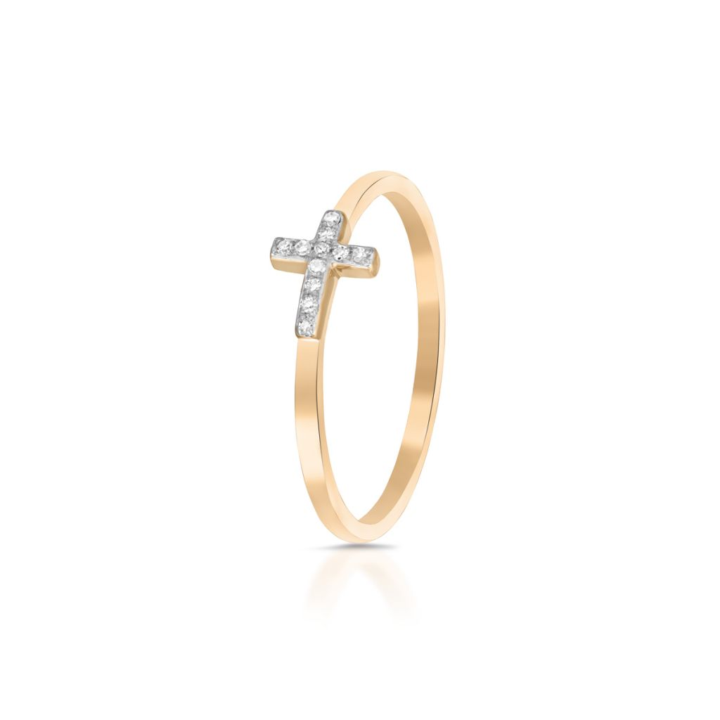 W.KRUK Wyjątkowy Złoty Pierścionek – złoto 375, Diament 0,03ct – ZDL/PB+05BK