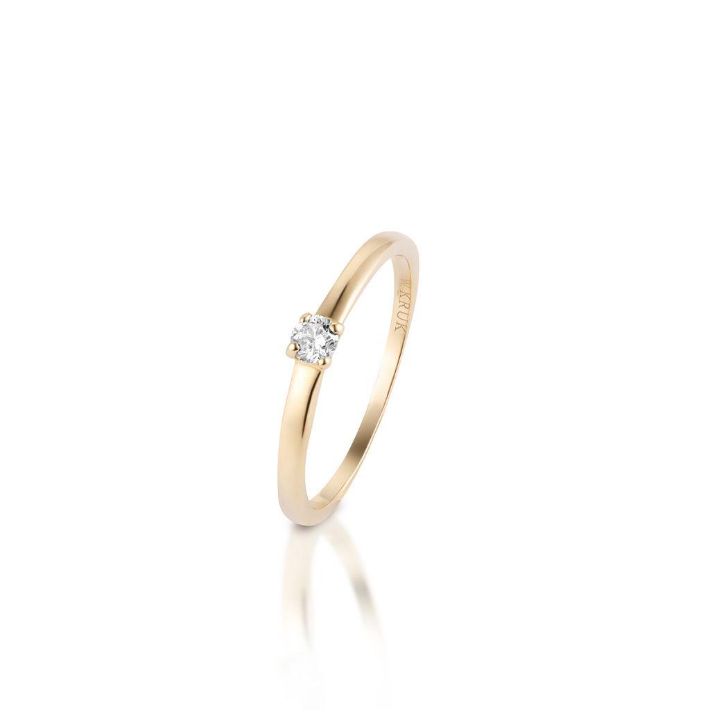 W.KRUK Zjawiskowy Złoty Pierścionek – złoto 585, Brylant 0,10ct – XWK/PB+111
