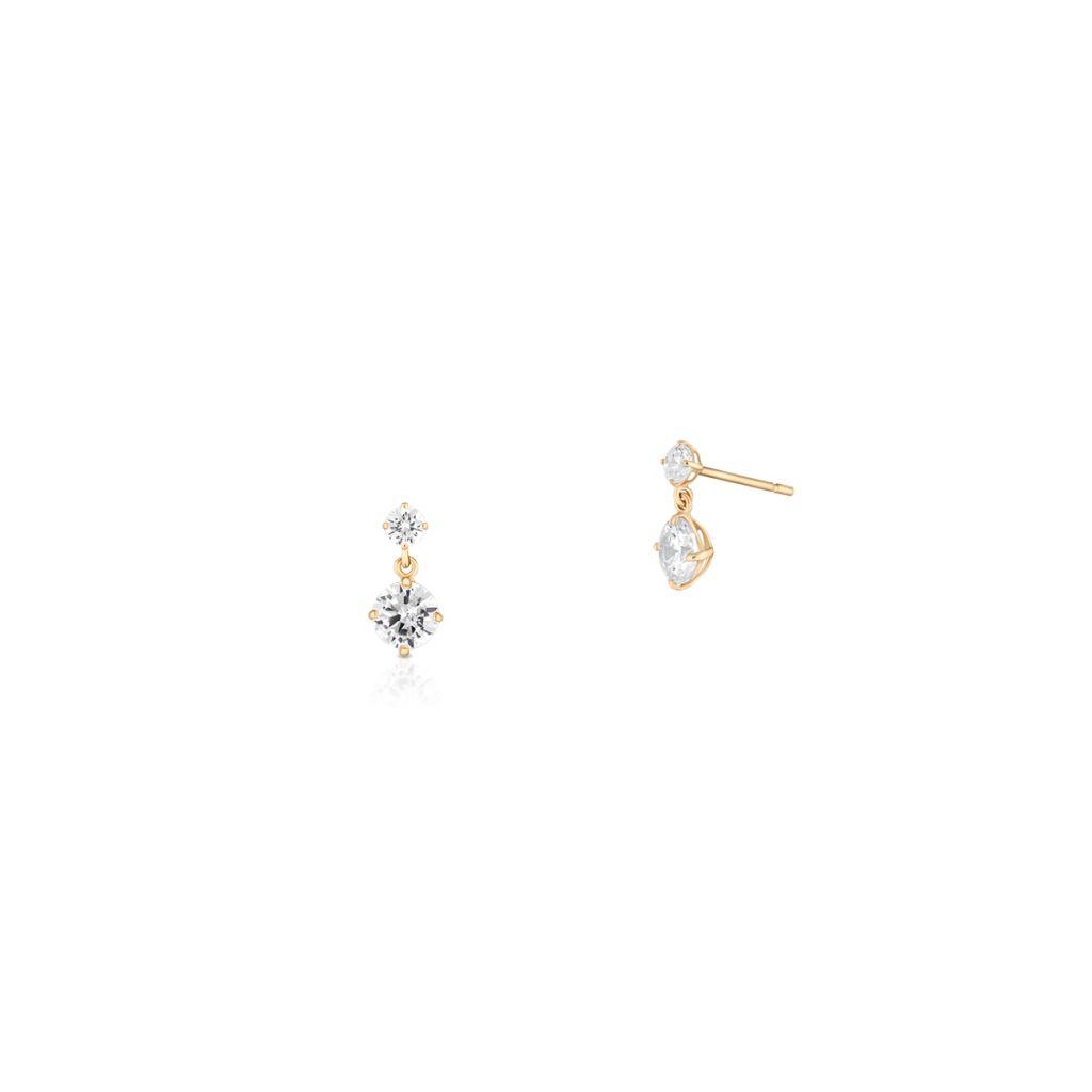 W.KRUK Złote Kolczyki – złoto 375, Cyrkonia – ZOL/KC14