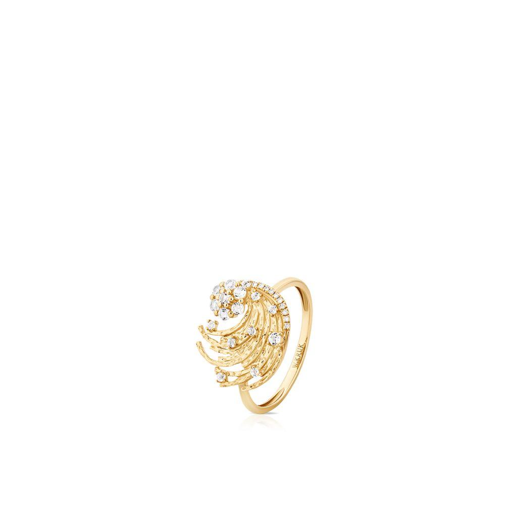 W.KRUK Pierścionek Złoty – złoto 375, Diament 0,02ct,biały topaz – ZDL/PB+42