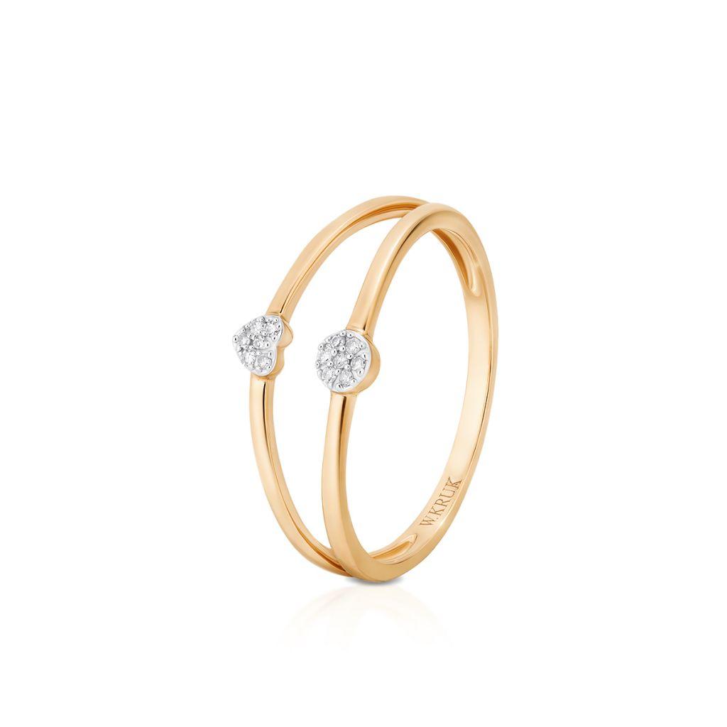 W.KRUK Wspaniały Złoty Pierścionek – złoto 585, Diament 0,03ct – ZUF/PB+04BK