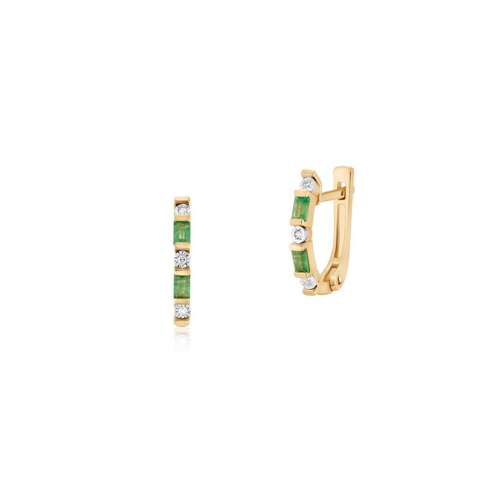 W.KRUK Kolczyki Złote – złoto 585, Diament 0,03ct,szmaragd – ZIN/KB+364K