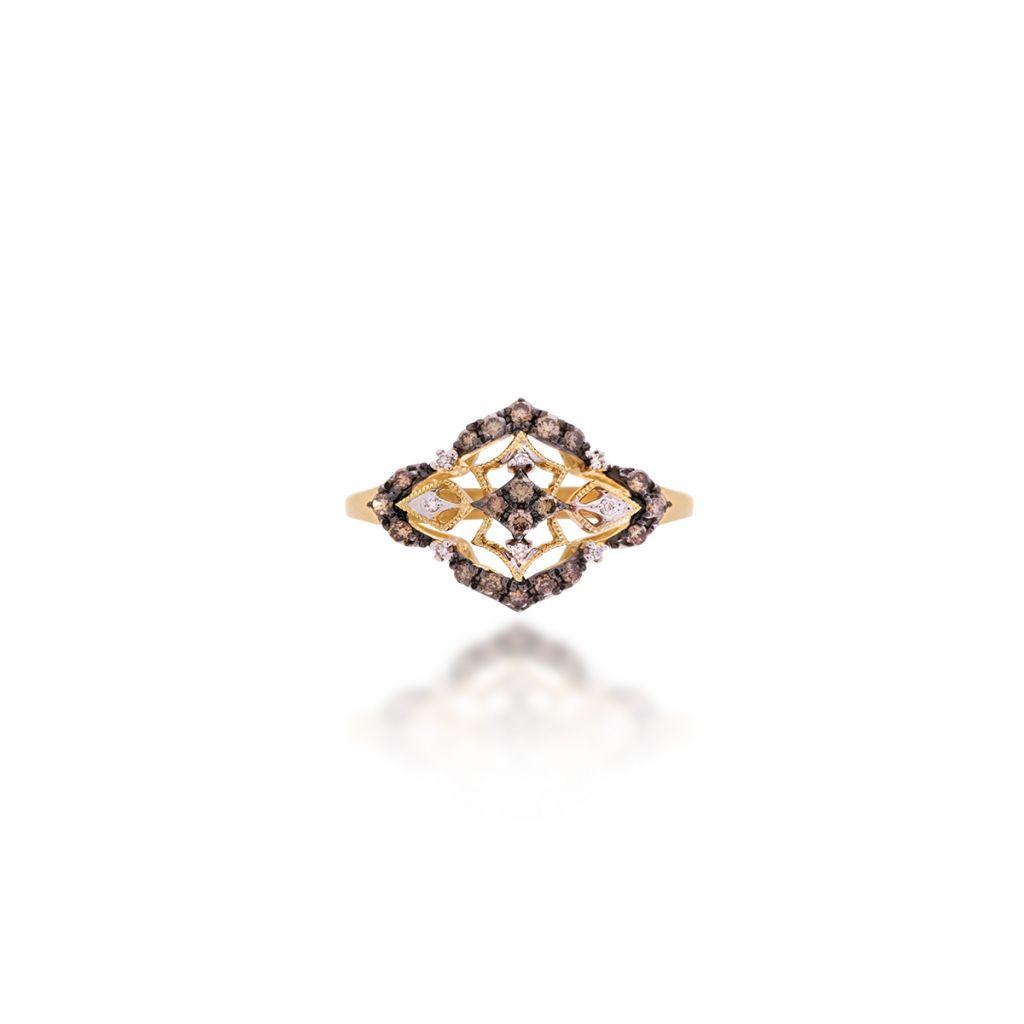W.KRUK Wspaniały Złoty Pierścionek – złoto 585, Brązowy brylant 0,23ct,diament 0,02ct – ZFX…