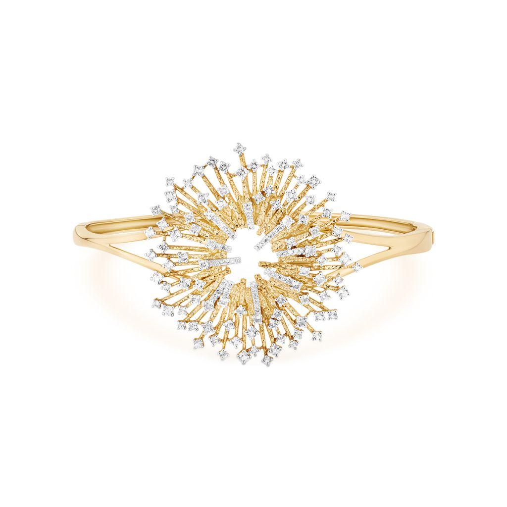 W.KRUK Złota Bransoletka – złoto 585, Diament 0,10ct,biały topaz – ZDL/AB+41