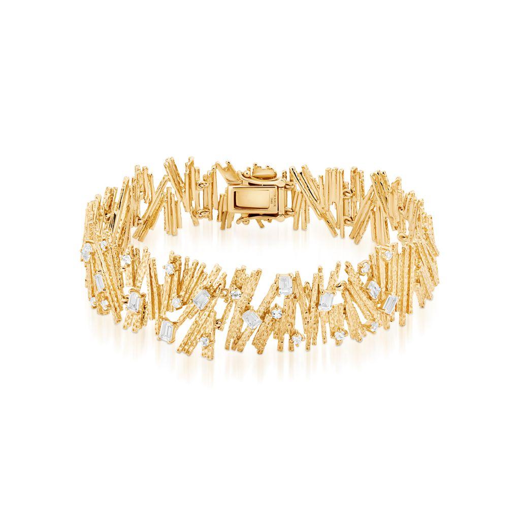 W.KRUK Piękna Bransoletka Złota – złoto 375, Biały topaz – ZDL/AT18