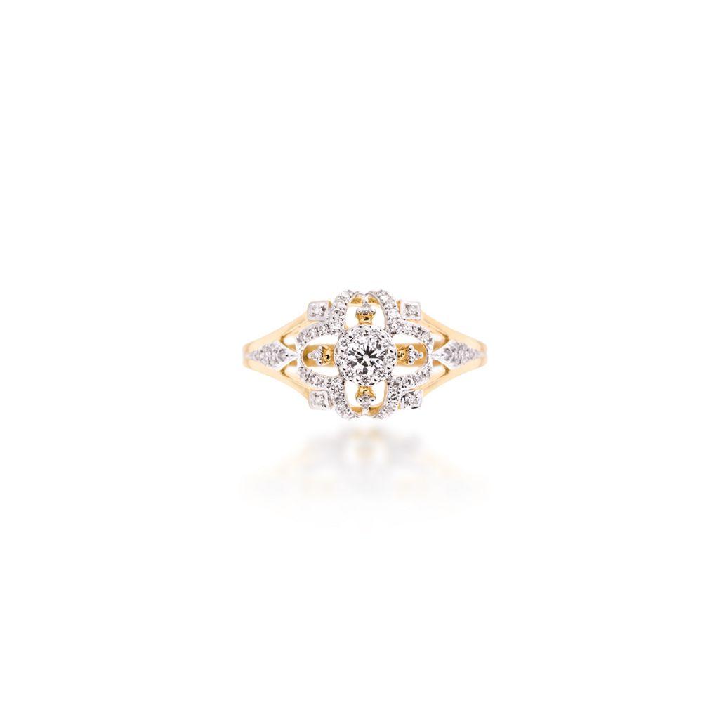 W.KRUK Wyjątkowy Pierścionek Złoty – złoto 585, Brylant 0,13ct , diament 0,12ct – ZFX/PB+03BK