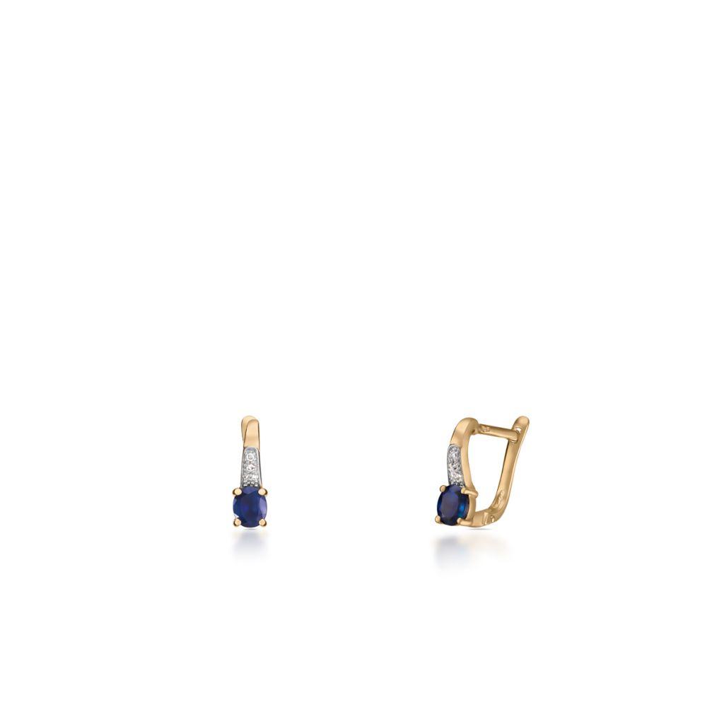 W.KRUK Kolczyki Złote – złoto 585, Diament 0,03ct,szafir – ZIN/KB+293