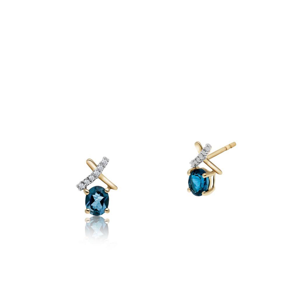 W.KRUK Unikalne Złote Kolczyki – złoto 375, Topaz london blue,cyrkon – ZVK/KT04BK