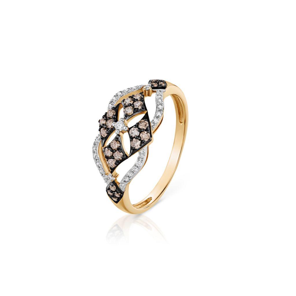 W.KRUK Złoty Pierścionek – złoto 585, Brylant 0,02ct,brązowy brylant 0,27ct…