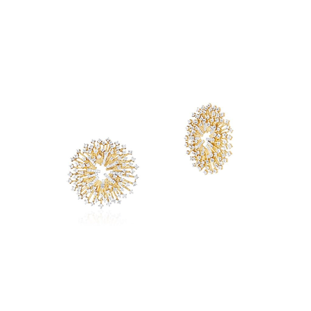 W.KRUK Wyjątkowe Złote Kolczyki – złoto 585, Diament 0,14ct,biały topaz – ZDL/KB+41