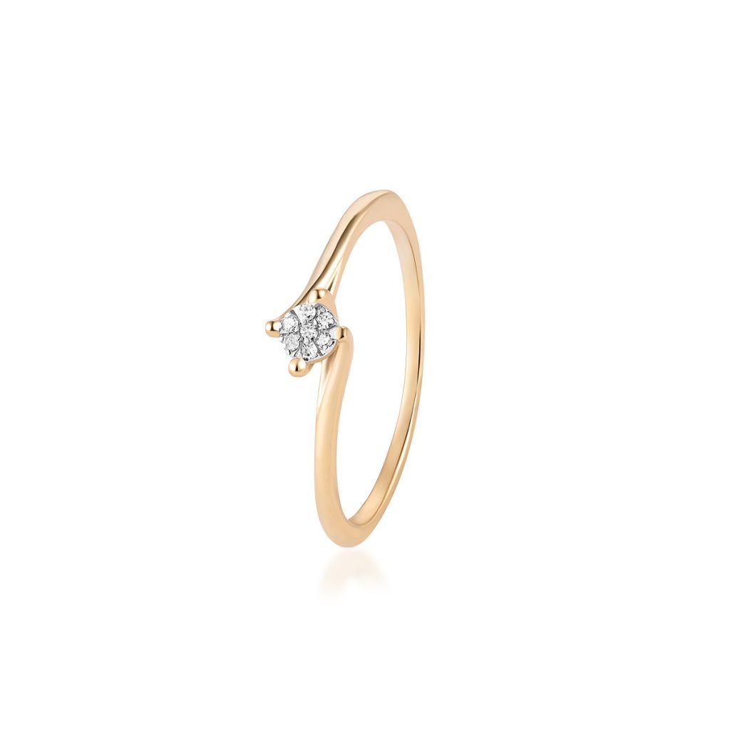 W.KRUK Piękny Złoty Pierścionek – złoto 375, Diament 0,027ct – ZPA/PB+311