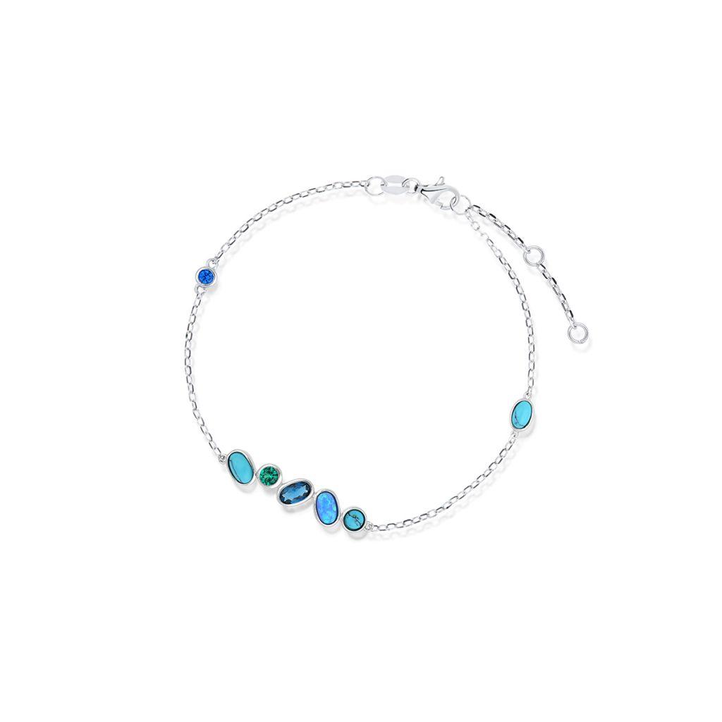 W.KRUK Piękna Srebrna Bransoletka – srebro 925, Cyrkonia,opal syntetyczny…