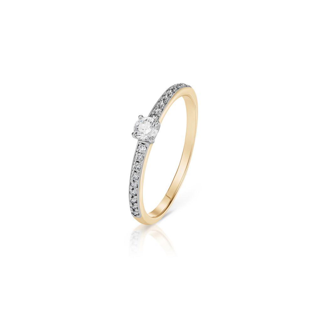 W.KRUK Piękny Pierścionek Złoty – złoto 585, Brylant 0,08ct,brylant 0,10ct – XWK/PB+360K