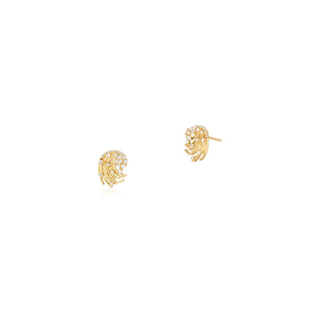 W.KRUK Wspaniałe Złote Kolczyki – złoto 375, Diament 0,03ct,biały topaz – ZDL/KB+42