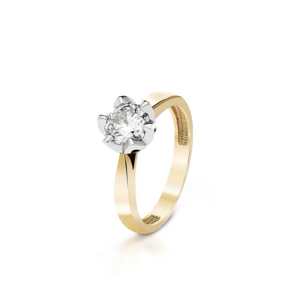 W.KRUK Piękny Złoty Pierścionek – złoto 585, Brylant 1,00ct – ZNN/PB+49BK