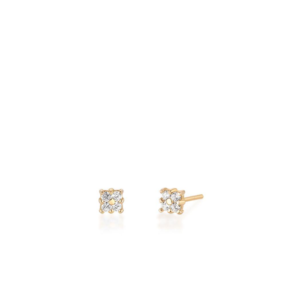 W.KRUK Wyjątkowe Kolczyki Złote – złoto 375, Cyrkonia – ZIO/KC03