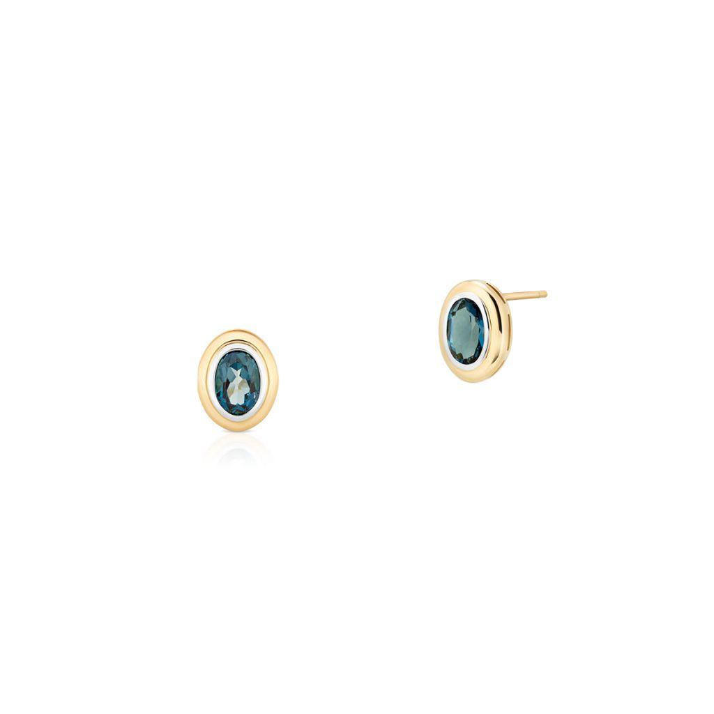 W.KRUK Złote Kolczyki – złoto 585, Topaz london blue – ZHH/KT09BK
