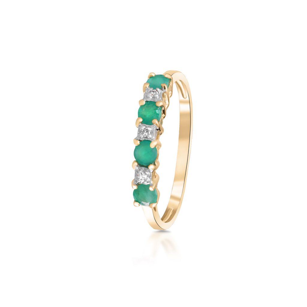 W.KRUK Pierścionek Złoty – złoto 585, Diament 0,015ct,szmaragd – ZHH/PB+19