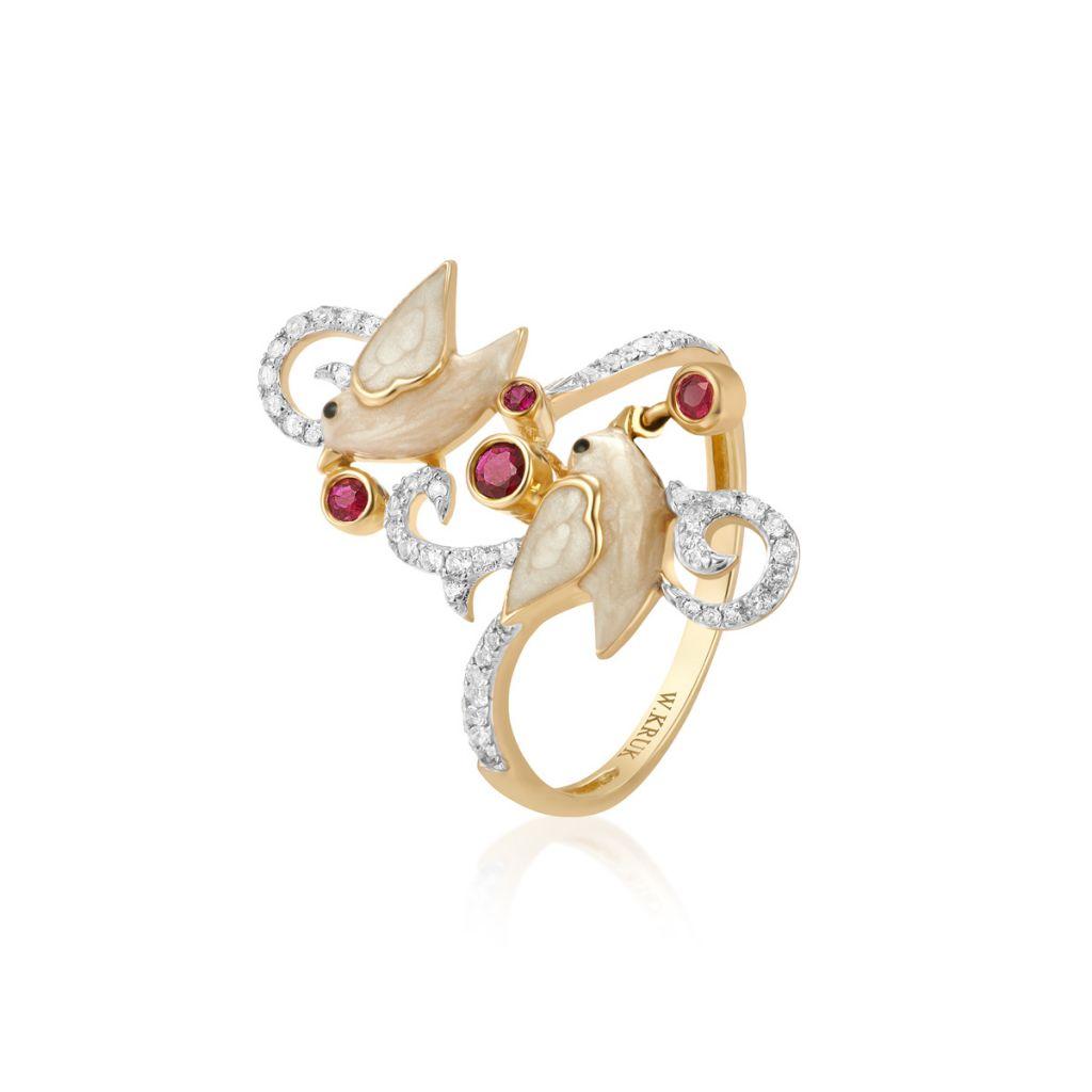 W.KRUK PROMOCJA Złoty Pierścionek – złoto 375, Rubin,biały topaz – ZDL/PW02
