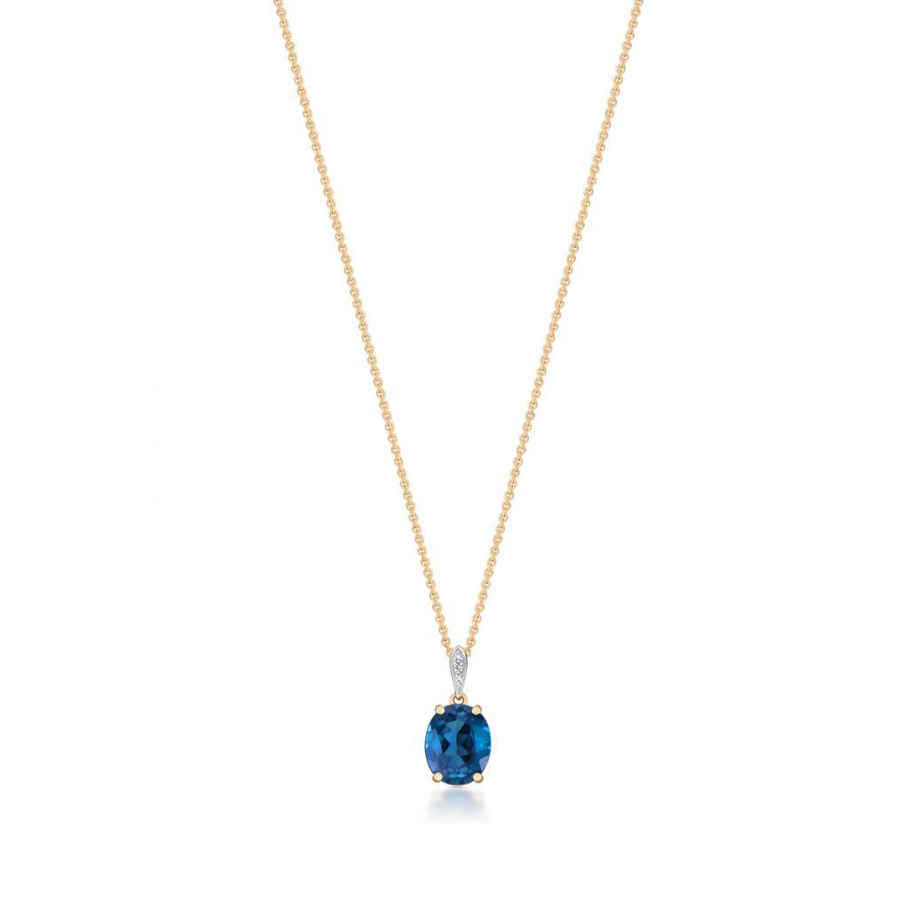 W.KRUK Zjawiskowy Złoty Wisiorek – złoto 585, Diament 0,008ct,topaz london blue – ZIN/WB+280K