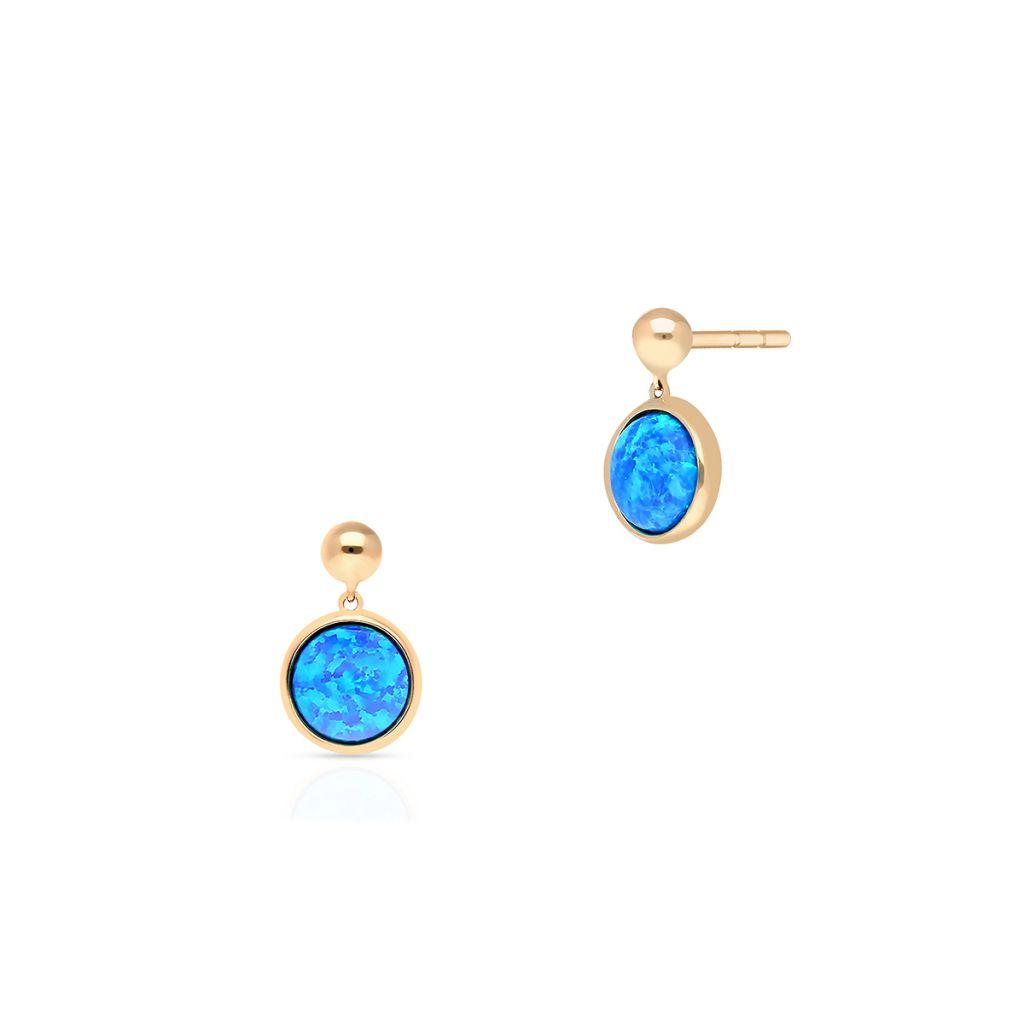 W.KRUK Złote Kolczyki – złoto 375, Opal syntetyczny – ZDL/KW19