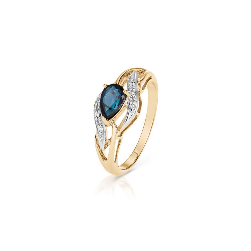 W.KRUK Zjawiskowy Złoty Pierścionek – złoto 585, Diament 0,024ct,szafir – ZHH/PB+40BK
