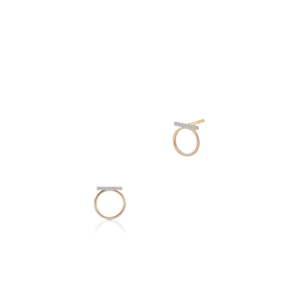 W.KRUK Wspaniałe Kolczyki Złote – złoto 375, Diament 0,04ct – ZHX/KB+02BK