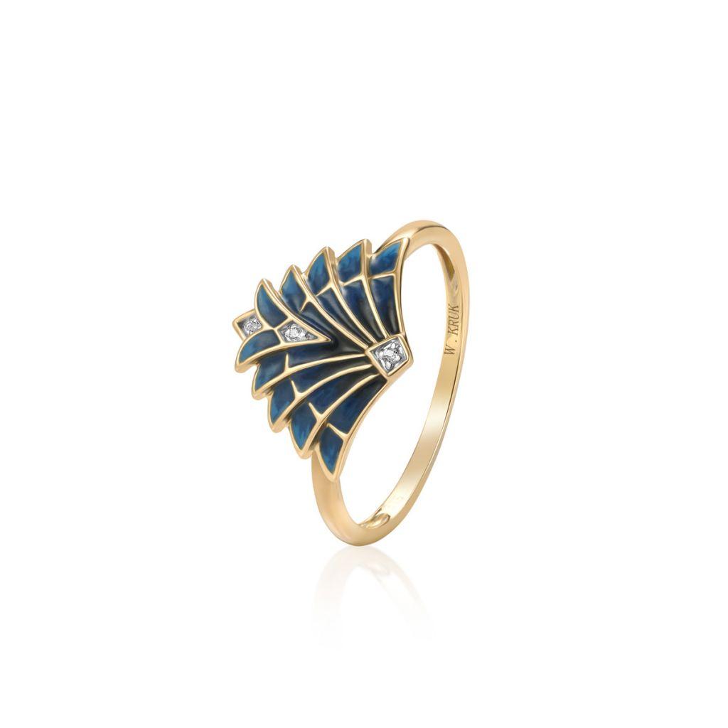 W.KRUK RABAT Złoty Pierścionek – złoto 375, Biały topaz – ZDL/PT02