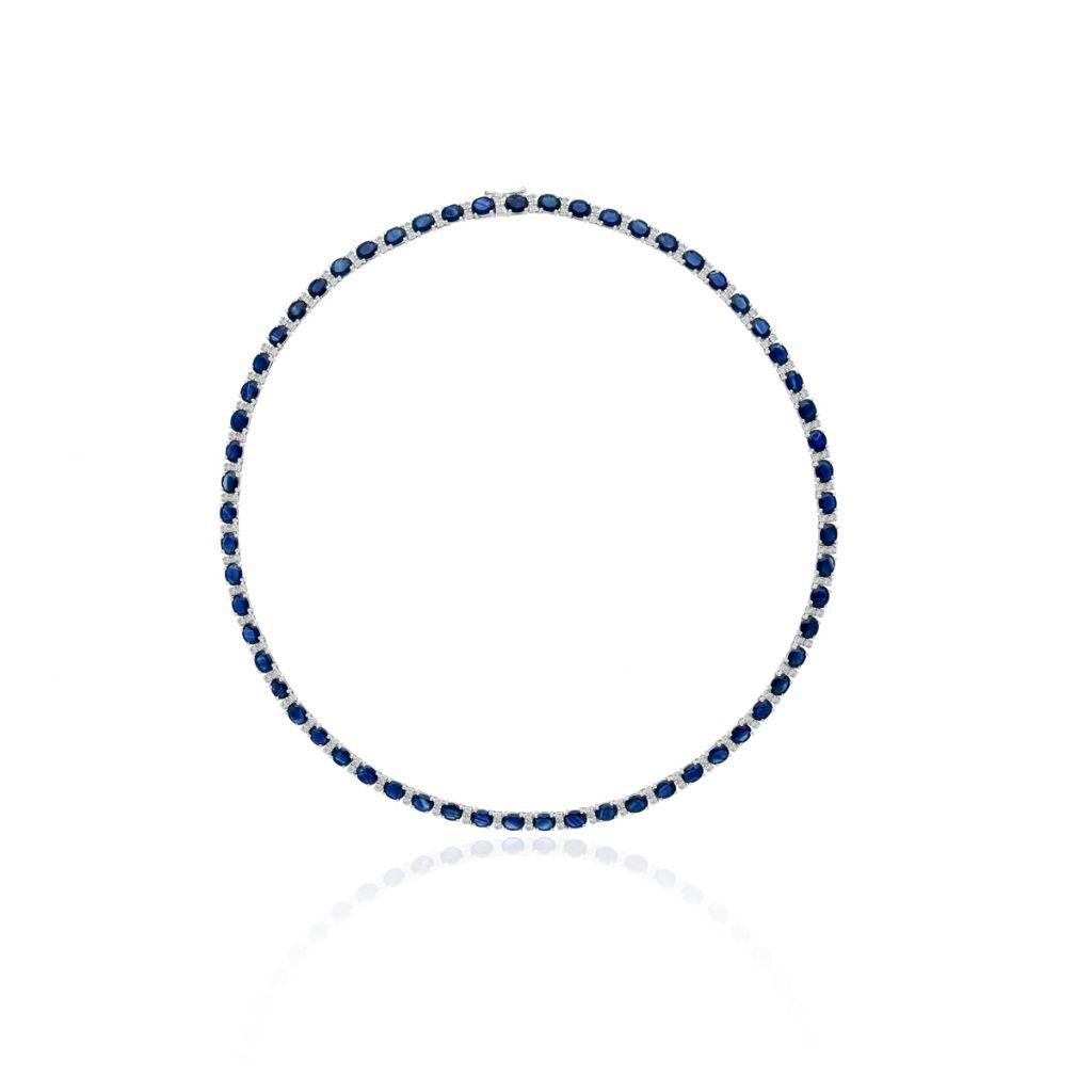 W.KRUK Unikalny Naszyjnik – złoto 585, Diament 0,85ct,szafir – ZIN/NB+254B